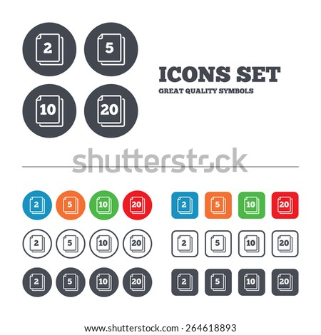 In pack sheets icons. Quantity per package symbols. 2, 5, 10 and 20 paper units in the pack signs. Web buttons set. Circles and squares templates. Vector