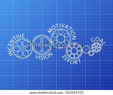 Productivity word on machine blueprint background vectores en stock incentive motivation vision effort and goal on hand drawn gear wheels blueprint background malvernweather Gallery