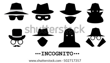 Incognito icons. Collection of anonymous and strangers