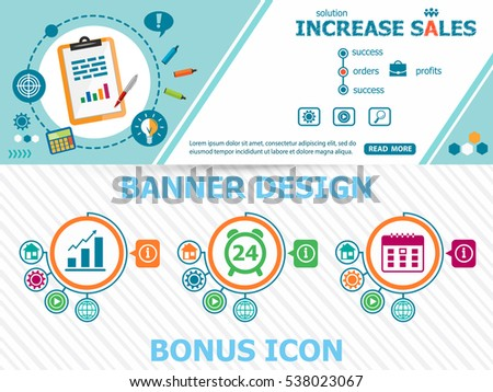 Increase sales design concepts and abstract cover header background for website design. Horizontal advertising business banner layout template