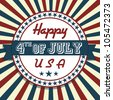 Independence Day greeting card in vintage style - stock