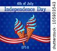 Independence Day Themed  ice-cream decorated with the colors and stars of United States flag - stock vector