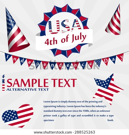 Independence Day USA Card with Monogram, Party Hat, Flag, Star, Heart and Sample Text