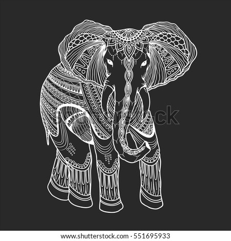 indian beautiful elephant in zentangle ornament asian style in white on blackboard ornate elephant in