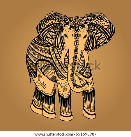 indian beautiful elephant in zentangle ornament asian style ornate elephant in color stylized design for