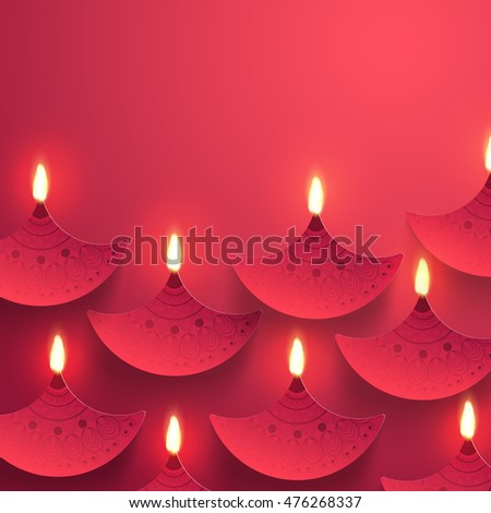 Indian Festival background with creative illuminated Paper Oil Lamps (Diya) decoration, Elegant Greeting Card with space for wishes, Beautiful vector for Festival of Lights, Happy Diwali celebration.