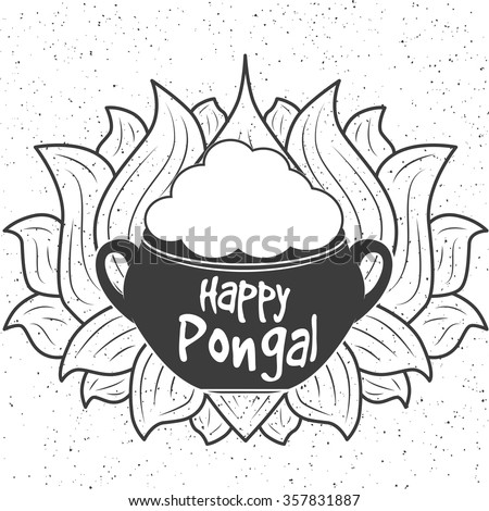 Indian harvesting festival happy pongal stock vector for Pongal coloring pages