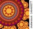 Indian Henna Mandala Background Design EPS10, very elaborate and easily editable - stock photo
