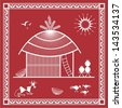 Indian tribal Painting. Warli Painting of a House - stock vector