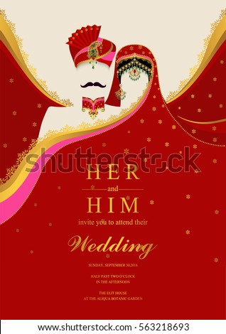 Indian wedding invitation card templates gold stock vector indian wedding invitation card templates with gold patterned and crystals on paper color stopboris Images