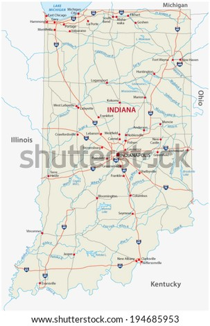 Indiana Road Map Flag Stock Vector Shutterstock - Indiana road map