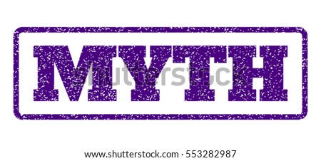 Indigo Blue rubber seal stamp with Myth text. Vector caption inside rounded rectangular shape. Grunge design and dust texture for watermark labels.