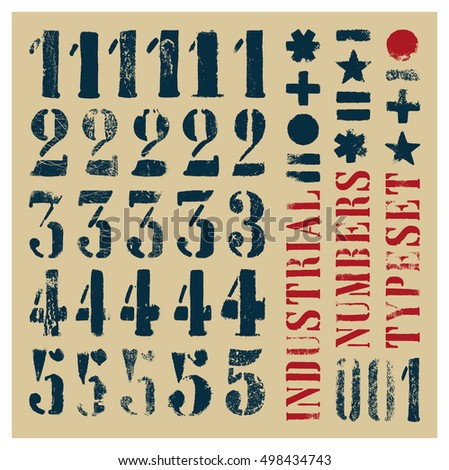 Industrial stencil grunge numbers. At least five alternatives per glyph