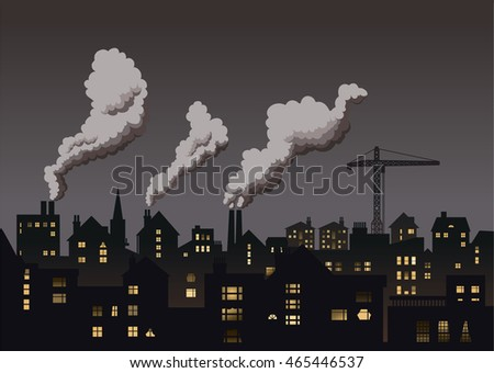 Industrial town skyline vector illustration.