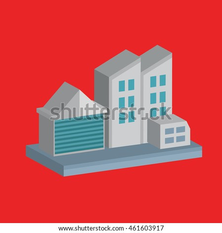 Industry,factory design on red background,vector