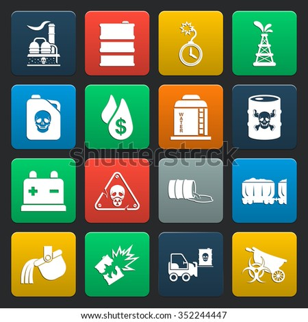 industry 16 icons universal set for web and mobile flat