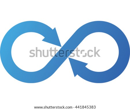 Infinity Vector Illustration. Blue Arrow Eternity Symbol Icon.