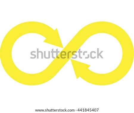 Infinity Vector Illustration. Yellow Eternity Symbol Icon.