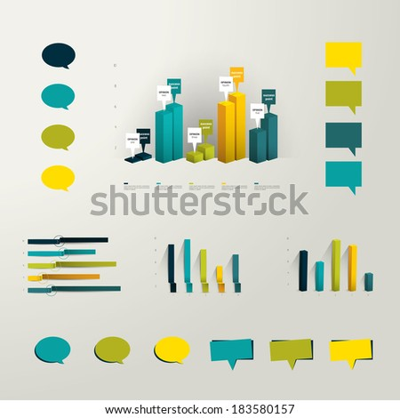 Info graphic set elements. Collection of plastic 3D graphs and minimalistic speech bubbles for print or web page. Vector background.