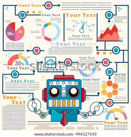 Info graphic Template with robot standing confidently in front of rising stock market chart represent up trend of algorithmic trading, Vector illustration
