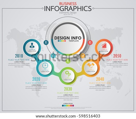 Infographic Business Horizontal Timeline Process Chart Stock