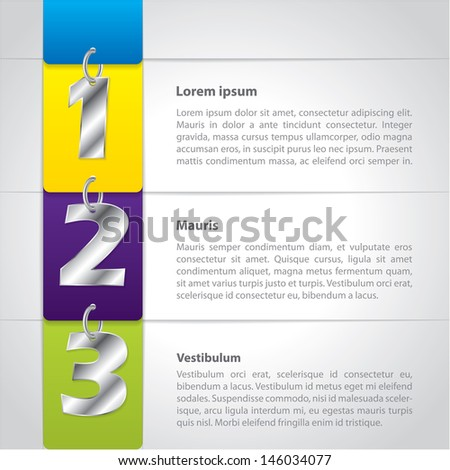 Infographic design with hanging metallic numbers and chains