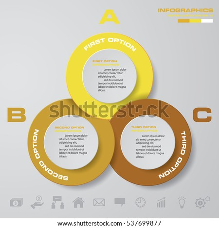 Infographic design with 3 options circles on the grey background. Eps 10 vector file.