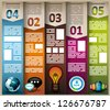 Infographic elements - set of paper tags, cloud technology icons, cloud cmputing, graphs, paper tags, arrows, world map and so on. Ideal for statistic data display. - stock vector