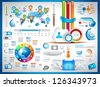 Infographic elements - set of paper tags, technology icons, cloud cmputing, graphs, paper tags, arrows, world map and so on. Ideal for statistic data display. - stock vector