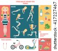 Infographic: fitness and diet for body type of triangle. Exercises, fitness equipment, useful and harmful products. - stock vector
