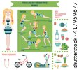 Infographic: fitness and diet for body types (triangle or pear). Sports equipment, exercise, food.  Diet and lifestyle. - stock vector