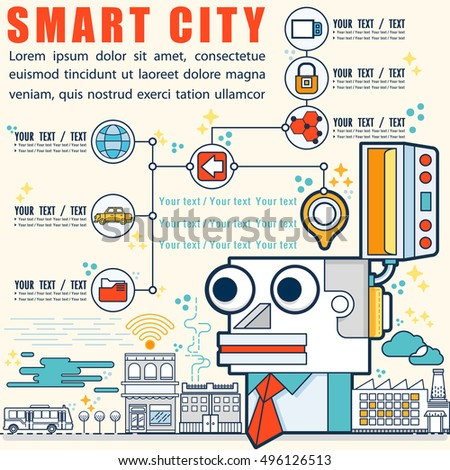 Infographic smart city concept with different icon and elements,