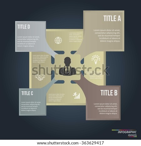 Infographic template . Design for presentation or diagram. Concept for 4 steps, parts or options. Vector EPS10.