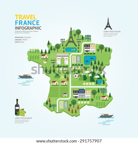 Infographic Travel And Landmark France Map Shape Template Design Country Navigator Concept Vector Ilration