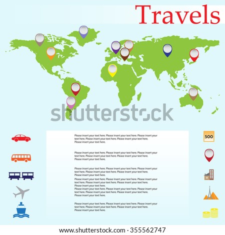 Infographic travel. Vector illustration of a world map