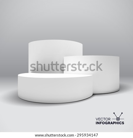 Infographic vector white 3D pedestal or graph