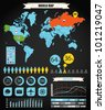 Infographics. Earth map and different charts - stock photo