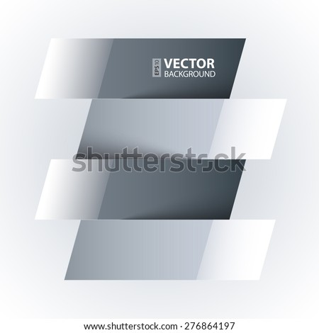 Infographics shiny white and grey paper rectangle banners with shadows on white background. RGB EPS 10 vector illustration
