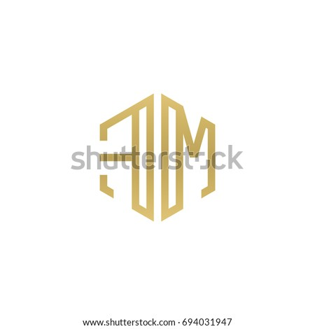 Gold letter m house logo stock vector 580931194 shutterstock for Minimalist house logo