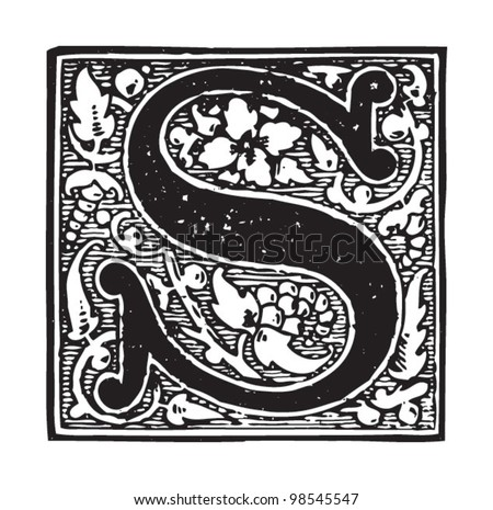 Initial letter s vintage illustrations from die frau als