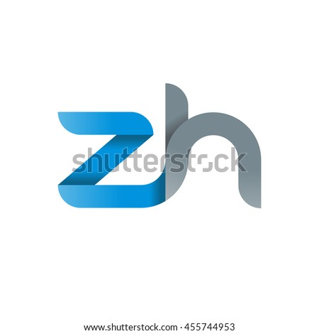 initial letter zh modern linked circle round lowercase logo blue gray