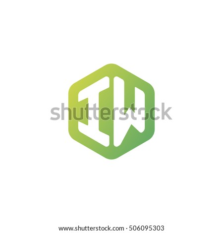 Initial letters IW rounded hexagon shape green simple modern logo
