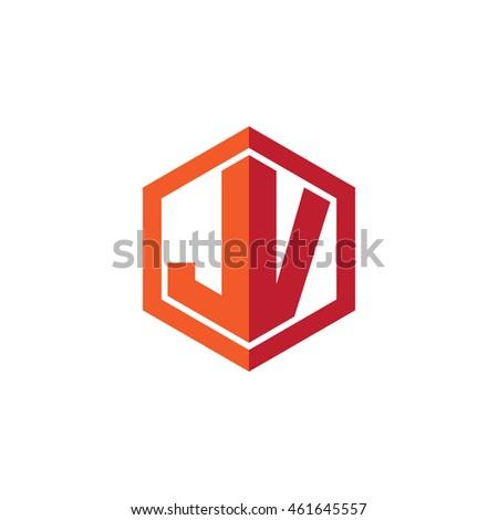 jv hisano template vn w letter hexagonal logo vector template stock vector