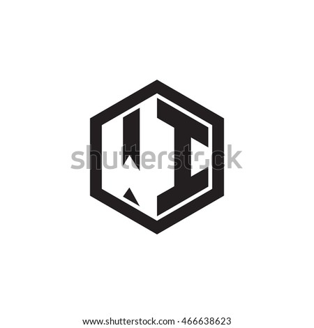 Initial letters WI negative space hexagon shape monogram logo