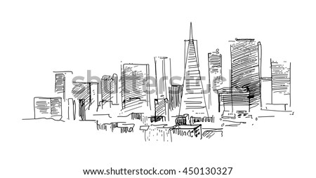 Ink drawing of a landscape with set of skyscrapers in San Francisco US