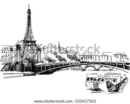Ink drawing of the Cathedral of Eiffel Tower in Paris against river - vector