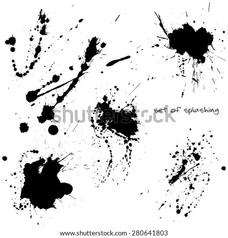 Ink stains collection isolated on white background.Vector design.