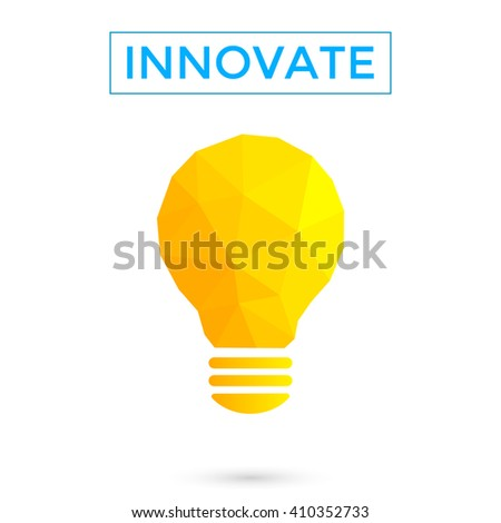 Innovate concept illustration. Light bulb low poly . Polygon design