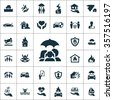 insurance Icons Vector set. insurance Icons Symbol set. insurance Icons Picture set. insurance Icon Image set. insurance Icons Shape set. insurance Icons Sign icons universal set for web and mobile  - stock vector