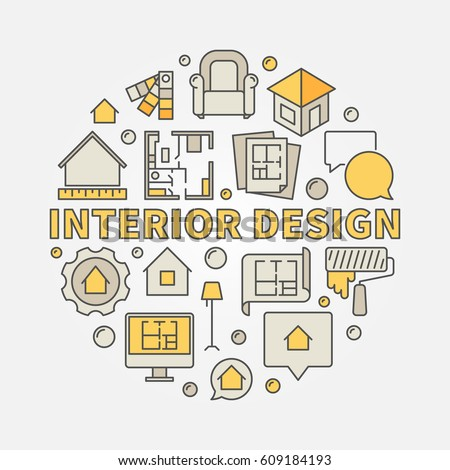 Real estate interior icons set vector stock vector for Interior design signs
